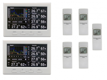 DL5000 TWIN (2 displays) Weather data logger thermometer incl. 5 thermo-hygrometer radio sensors