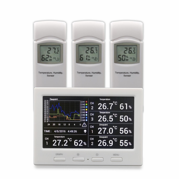 DL5000 Wetterdatenlogger Thermometer inkl. 3 Thermo- Hygrometer Funksensor (B-Ware)
